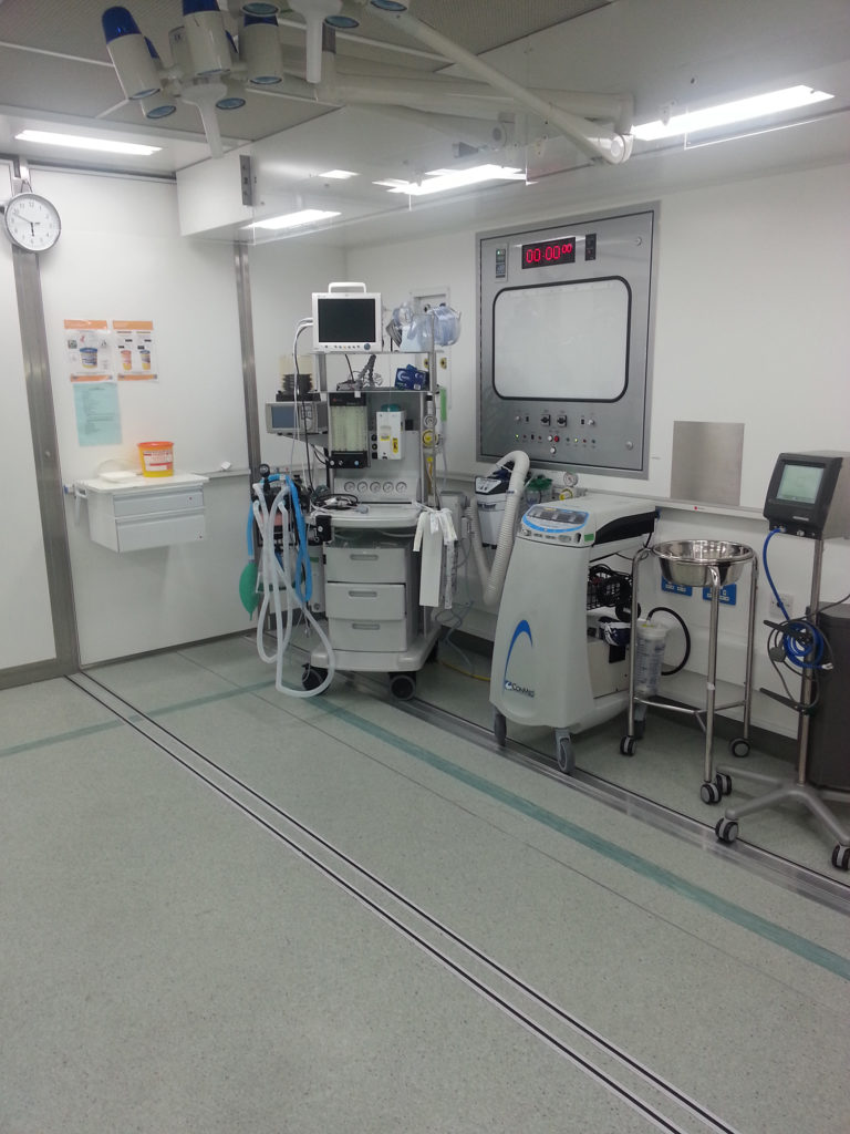 Interior of mobile operating theatre as deployed by Scottish Health Boards