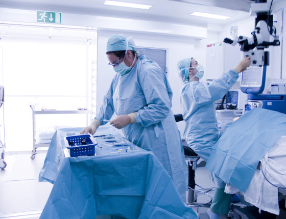 Surgeon at work in mobile theatre - North Devon District Hospital