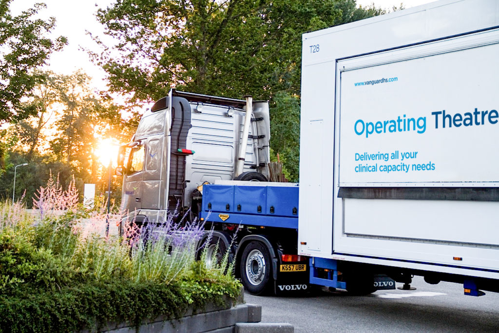 A mobile operating theatre is delivered to Surrey and Sussex Healthcare NHS Trust